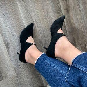 Celine suede pointed toe mary jane kitten heels